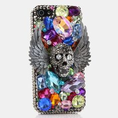 iPhone 8 Plus Case, iPhone 7 Plus Case, [Premium Handmade Quality] Bling Genuine Crystals Flying Skull Design Hybrid Protective Cover for iPhone 8 Plus / 7 Plus by LUXADDICTION