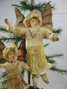 Large Spun Cotton Angel Ornament for feather tree by ArbutusHunter Christmas Past, Christmas Items, Christmas Angels, Handmade Christmas, Christmas Crafts, Christmas Decorations, Snow Angels, Outdoor Christmas, Christmas Christmas