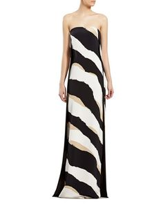 Zebra Print Silk Strapless Gown by Gucci at Neiman Marcus.