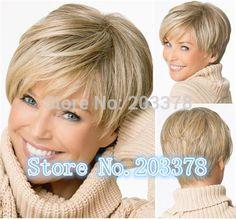 Court cheveux Raides Blonde perruques Coupe de Lutin Synthétique perruques Naturelles pour women10pcs/lot livraison gratuite dans Perruques de Beauté & Santé sur AliExpress.com   Alibaba Group
