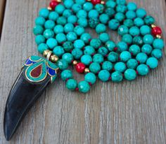 Tibetan Horn Tusk with Brass Lapis Turquoise & by JivalaJewelry, $72.00