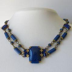 Vintage-1930s-Signed-Czech-Art-Deco-Lapis-Blue-Glass-Necklace