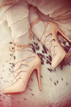 lace me up and take me outdoors. #pink #snakeskin #booties