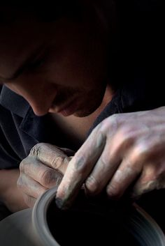 potter hard at work in the ceramics studio, 2009