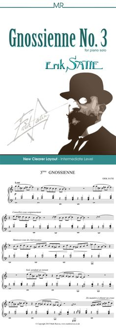 Gnossienne No 3 By Erik Satie What Is Classical Music, Erik Satie, Romantic Period, Digital Sheet Music, Piano Keys, Layout, Easy Piano, New Edition, Pop Songs