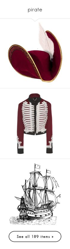 """""""pirate"""" by dodo85 on Polyvore featuring outerwear, jackets, tops, burberry, coats & jackets, red, wool field jacket, wool jacket, red wool jacket and red white jacket"""