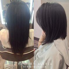 long angled bob before and after Angled Lob, Inverted Bob, Medium Hair Styles, Curly Hair Styles, Swoop Bangs, Fresh Hair, Hair Affair, Love Hair, About Hair