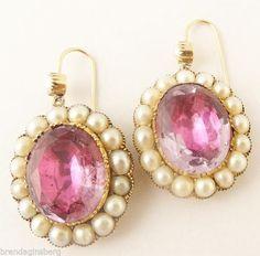 Antique Georgian Earrings Amethyst Pearls 15ct Gold Drop Earrings (#5381)