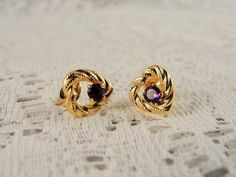 1980s 14KT Gold Heart Shaped Stud Earrings with a Genuine Amethyst Accent Stone by CarolsVintageJewelry on Etsy