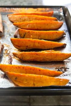 Looking for an easy side dish? These roasted sweet potato wedges are so simple and delicious. Serve them with chicken, steak or pork.
