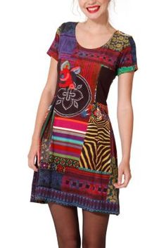 Desigual women's Asturias dress. It's made of suede, velvety to the touch. Zip fastening at the back.