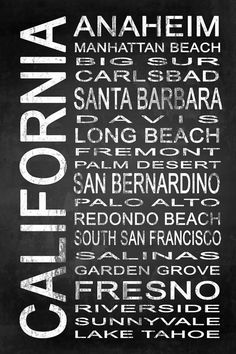 Subway California State 4 by Melissa Smith | Urban Art District.  Modern subway sign chalkboard typography features destinations in California state such as: Anaheim, Manhattan Beach, Big Sur, Carlsbad, Santa Barbara, Davis, Long Beach, Fremont, Palm Desert, San Bernardino, Palo Alto, Redondo Beach, South San Francisco, Salinas, Garden Grove, Fresno, Roverside, Sunnyvale, Lake Tahoe  Embrace your love for California and add some urban sophistication to compliment your modern style with a…