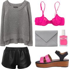 new get up    ne-uw:    silverest:    touch of pink neon by clourr featuring american apparel nail polish