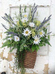 Spring wreath for door, summer wreath,spring basket,summer basket,daisy basket,spring decor,spring wall basket,flowerpowerohio basket on Etsy, $89.99