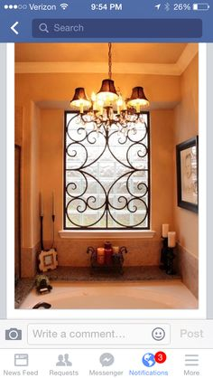 Faux wrought iron insert for the bathroom window. Or perhaps the windows flanking the front door. From Mike Triplett at BMD Woodworks.