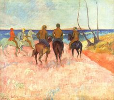 Riders on the beach by @paul_gauguin #cloisonnism