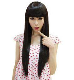Amazon.com: Taobaopit Casual Fashion Long Straight Neat Bangs Black Wigs For Women Hair Wigs: Beauty