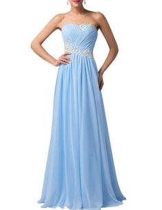 Strapless Long Evening Dresses with Appliques (Multi-Colored)   Light Blue