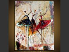 "Original art for sale by the artist. Canvas painting ""Pas de Trois"" by Canadian artist Lena Karpinsky."
