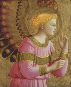 Beato Angelico (1395-1455), Angelo Annunciante, c. 1450, foglia d'oro e tempera su tavola. Detroit Institute of Arts.