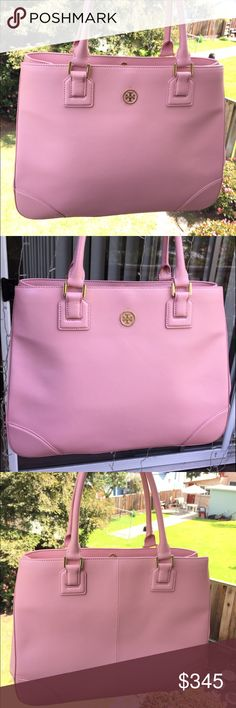 🏖Tory Burch Robinson Rose Sachet Tote🏖 NWOT TORY BURCH ROBINSON LARGE  TOTE  IN COATED SAFFIANO LEATHER MSRP $575.00            My Sis received as gift! New without tags 😍😍                                                    💕💕💕💕💕💕💕💕💕💕💕💕💕💕💕💕💕LARGE SIZE-16.5 x 12 x 5 Like New  Saffiano Leather (COATED With A Satin sheen) Gold tone hardware - still covered in plastic Tubular Top Handles Center Zip pocket Sidewall zip pocket 3 Interior slip pockets Tory Burch Bags Totes