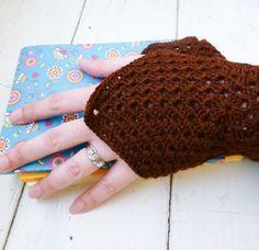Crochet fingerless gloves Crochet wrist warmers brown fingerless gloves ready to ship winter wear women's gift idea accessory by SixthandDurianGifts