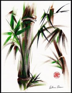 MOTU Original Japanese sumi-e bamboo painting. $149.00, via Etsy.
