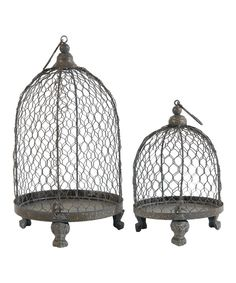 Look at this Hanging Birdcage Candleholder Set on #zulily today!