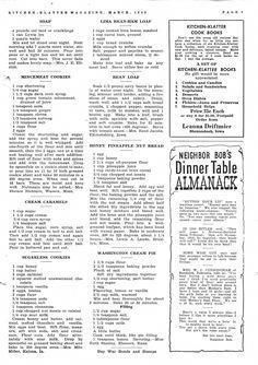 Kitchen Klatter Magazine, March 1943-2 Soap, Mincemeat Cookies, Cream Caramels, Sugarless Cookies, Lima Bean Ham Loaf, Bean Loaf, Honey Pineapple Nut Bread, Washington Cream Pie #sugarlesscookies Retro Recipes, Old Recipes, Vintage Recipes, Cookbook Recipes, Cooking Recipes, Recipies, Amish Recipes, Cooking Ideas, Mincemeat Cookies