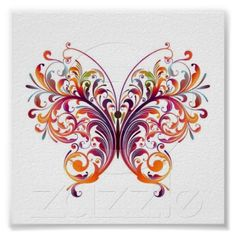 "Floral Butterfly Poster-Beautiful abstract floral butterfly in the colors of the rainbow. 6"" X 6"" $7.05"