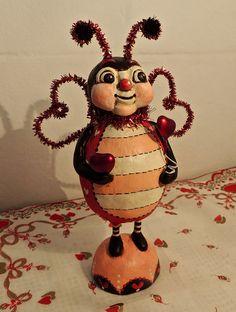 Hand Sculpted Primitive Folk Art Valentine by MothersDreamRtworks