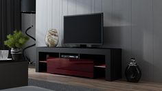 "Modern Minimalist Living Room Design With TV Stand MILANO 160 Black- TV Cabinet with LEDs – Living Room Furniture – TV Console for up to 70″ TV screens – TV stand with LED lights (Black & Burgundy) Overall dimensions: 17,72""H x 62,99""W x 13,78""D (45 x 160 x 35..."
