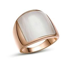 18K White/Roe Gold Plated Opal tone Finger Ring for Man   – USD $ 15.99