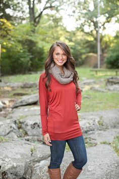 The Pink Lily Boutique - Everyday Rust Tunic, $28.00 (http://www.thepinklilyboutique.com/everyday-rust-tunic/)