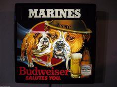 NEW VTG 1985 BUDWEISER BUD BEER U.S.M.C MARINES BULLDOG IN MOTION BAR LIGHT SIGN   eBay