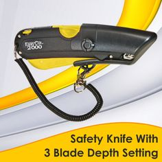 Easy-Cut 2000 has the same benefits and safety features as the Easy-Cut 1000, but several new design enhancements have also been added to this safety knife. Features include the patented radius-blunt tip blade and multiple blade-depth settings, ergonomic handle that extends and retracts the blade naturally, unique snap-on lanyard to prevent lost-cutters, and on-board blade storage.