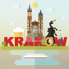 Papier Peint Кrakow Symbols Most Famous Symbols Of Krakow: Cathedral, Beer, Dragon, Krakow Roll Free Vector Graphics, Free Vector Images, Dragon, Jingle All The Way, Potpourri, Travel Posters, Cathedral, Beer, Clip Art