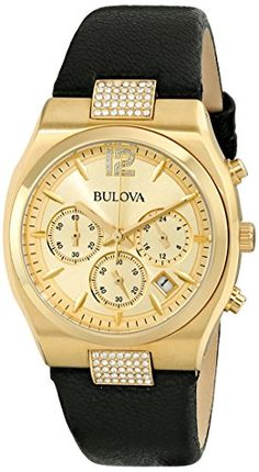 Bulova Womens 97M107 Crystal Analog Display Japanese Quartz Black Watch >>> Click image to review more details.