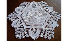Irish Crochet Hexagon Doily / Tabletop by ArtisticNeedleWork Freeform Crochet, Crochet Art, Crochet Home, Thread Crochet, Filet Crochet, Crochet Motif, Crochet Doilies, Crochet Stitches, Crochet Table Topper