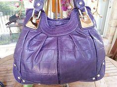 B Makowsky HUGE Croc PURPLE Leather Bag BUCKET Handbag Shopper Shoulder Hobo