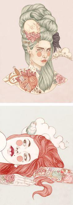 Ilustrações Tatuadas de Liz Clements. // Illustrations Tattooed Liz Clements.