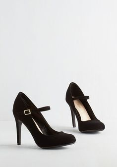 Shoe Had Me At Hello Heel in Noir. Its sure to be love at first step when you buckle into these black Mary Jane heels. #black #wedding #modcloth