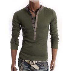 V-Neck Long Sleeve Half Button Embellished T-Shirt