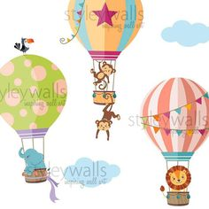 Our Hot Air Balloons with Jungle Animals Wall Decal would be a great addition to your nursery or playroom. The decal measures 83w x 52h when composed like in our first picture. (These measurements for for the smaller size option.) The smallest air balloon measures 14.5w x 21h The
