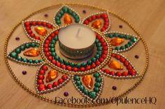 Handmade kundan rangoli as tealight candle decoration. Thali Decoration Ideas, Diy Diwali Decorations, Festival Decorations, Diya Designs, Rangoli Designs Flower, Diwali Diy, Diwali Craft, Cd Crafts, Diy Arts And Crafts