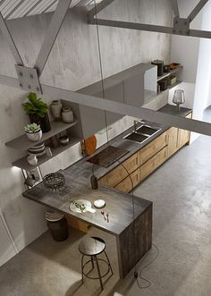 Ikea Kitchen Design, Loft Kitchen, Wooden Kitchen, Kitchen Interior, Interior Design Living Room, Kitchen Dining, Kitchen Decor, Kitchen Cabinet Styles, Küchen Design
