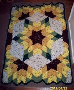 Beautiful Prairie Star Afghan. Looove the colors- reminds me of sunflowers