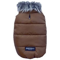Doggy Dolly Dog Gilet Brown with Fur Collar