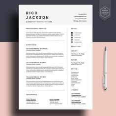 Modern Resume Design Teacher Resume Template Word  Cover Letter Template  Instant