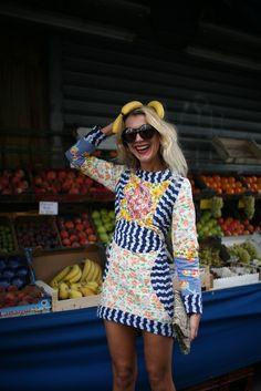 >>> mixed print mini dress, bananas as accessory | They Are Wearing: Paris Fashion Week - WWD.com